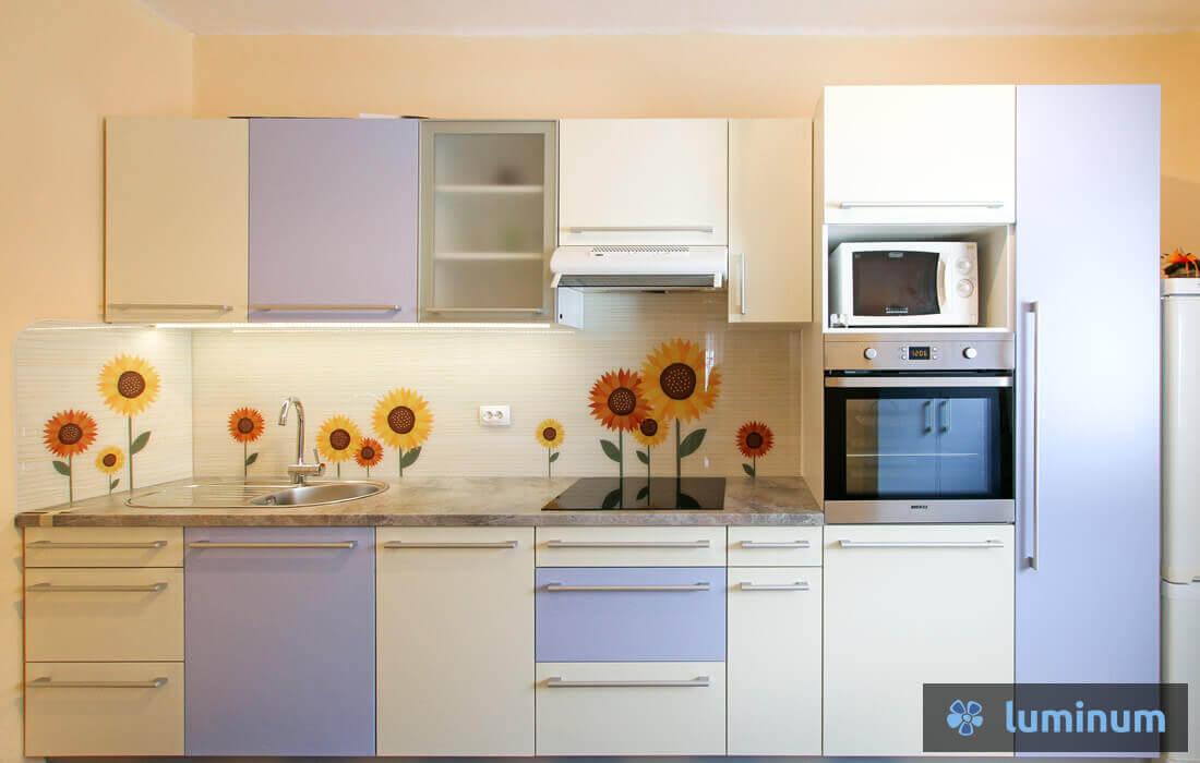 Steklene obloge za kuhinjo s sončnicami